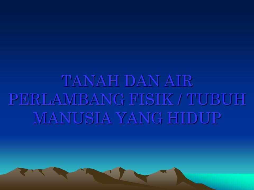 TANAH DAN AIR PERLAMBANG FISIK / TUBUH MANUSIA YANG HIDUP