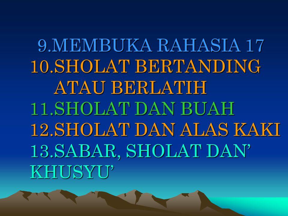 BETAPA INDAHNYA ALLAH MENATA SEGALANYA TERMASUK NAMA DAN JUMLAH HURUF SERTA JUMLAH ROKA'AT