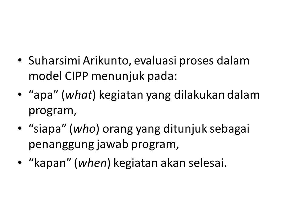 """Suharsimi Arikunto, evaluasi proses dalam model CIPP menunjuk pada: """"apa"""" (what) kegiatan yang dilakukan dalam program, """"siapa"""" (who) orang yang ditun"""
