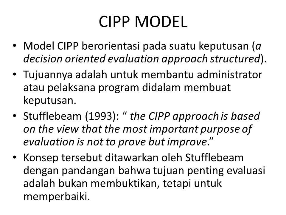CIPP MODEL Model CIPP berorientasi pada suatu keputusan (a decision oriented evaluation approach structured). Tujuannya adalah untuk membantu administ