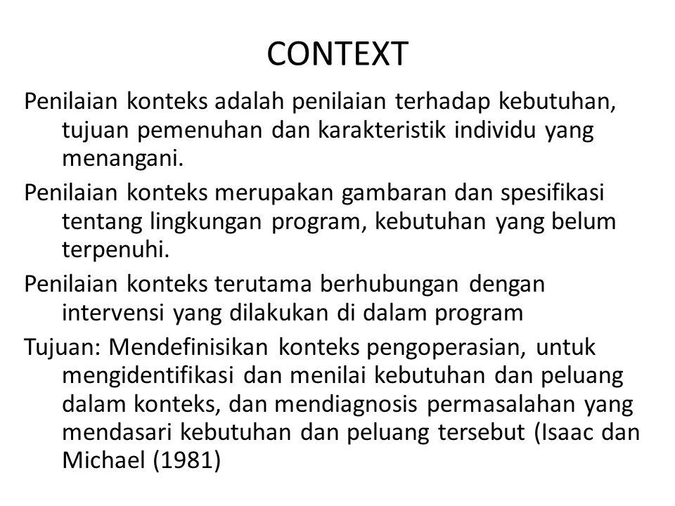 CONTEXT Penilaian konteks adalah penilaian terhadap kebutuhan, tujuan pemenuhan dan karakteristik individu yang menangani. Penilaian konteks merupakan