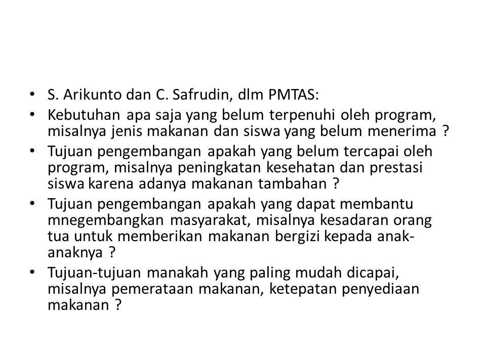 S. Arikunto dan C. Safrudin, dlm PMTAS: Kebutuhan apa saja yang belum terpenuhi oleh program, misalnya jenis makanan dan siswa yang belum menerima ? T