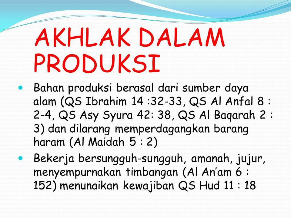 AKHLAK DALAM PRODUKSI Bahan produksi berasal dari sumber daya alam (QS Ibrahim 14 :32-33, QS Al Anfal 8 : 2-4, QS Asy Syura 42: 38, QS Al Baqarah 2 :
