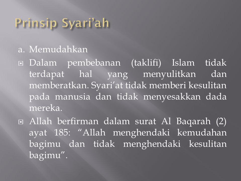 a.Memudahkan  Dalam pembebanan (taklifi) Islam tidak terdapat hal yang menyulitkan dan memberatkan. Syari'at tidak memberi kesulitan pada manusia dan