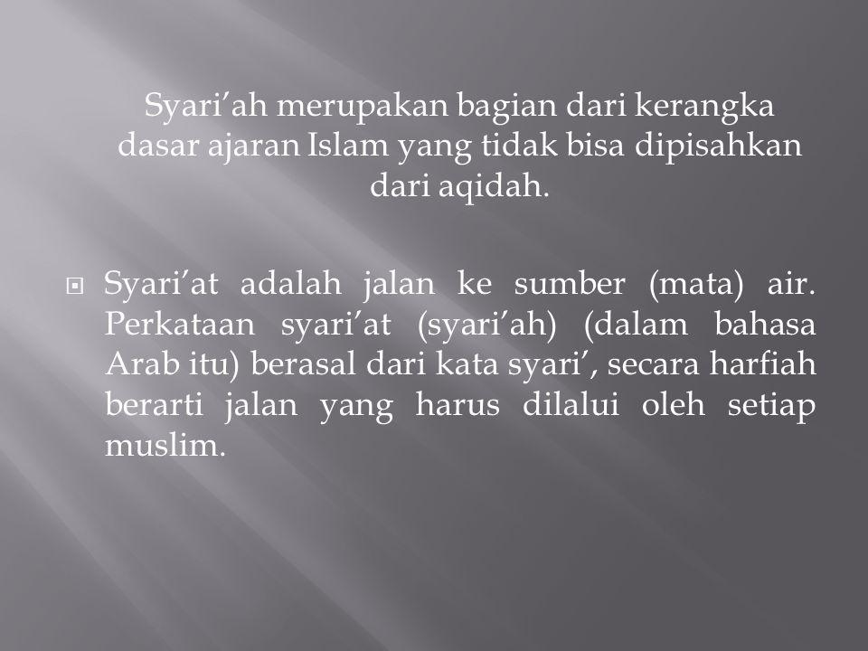  Syariat terdapat dalam al-Quran dan kitab- kitab Hadis, Fikih terdapat dalam kitab-kitab fikih.