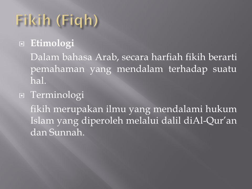  Etimologi Dalam bahasa Arab, secara harfiah fikih berarti pemahaman yang mendalam terhadap suatu hal.  Terminologi fikih merupakan ilmu yang mendal