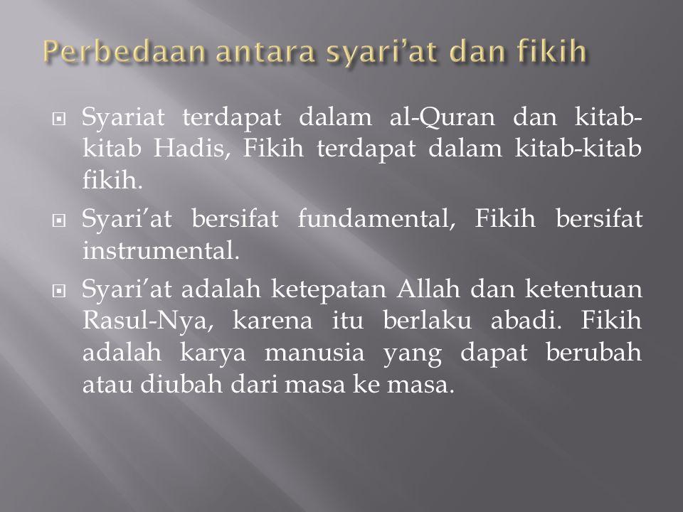  Syariat terdapat dalam al-Quran dan kitab- kitab Hadis, Fikih terdapat dalam kitab-kitab fikih.  Syari'at bersifat fundamental, Fikih bersifat inst
