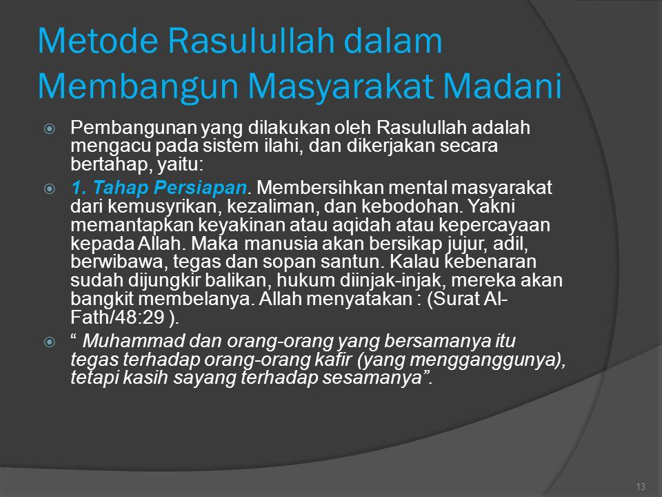 Metode Rasulullah dalam Membangun Masyarakat Madani  Pembangunan yang dilakukan oleh Rasulullah adalah mengacu pada sistem ilahi, dan dikerjakan seca