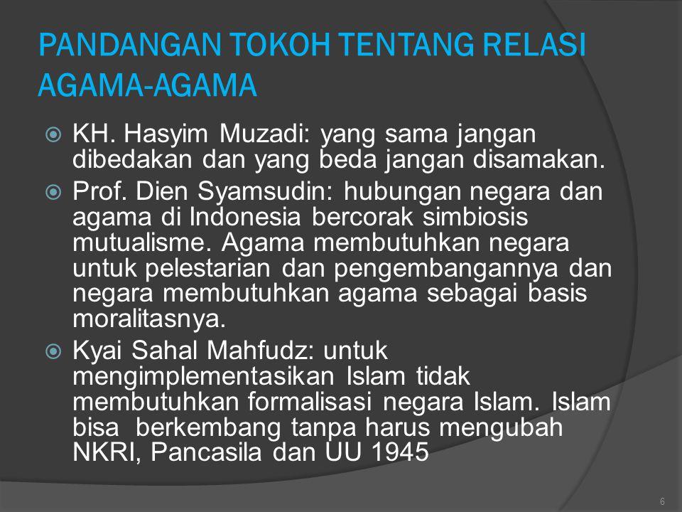 PANDANGAN TOKOH TENTANG RELASI AGAMA-AGAMA  KH. Hasyim Muzadi: yang sama jangan dibedakan dan yang beda jangan disamakan.  Prof. Dien Syamsudin: hub