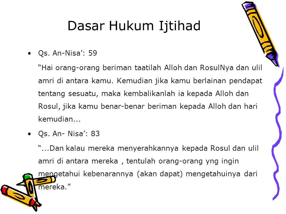 """Dasar Hukum Ijtihad Qs. An-Nisa': 59 """"Hai orang-orang beriman taatilah Alloh dan RosulNya dan ulil amri di antara kamu. Kemudian jika kamu berlainan p"""