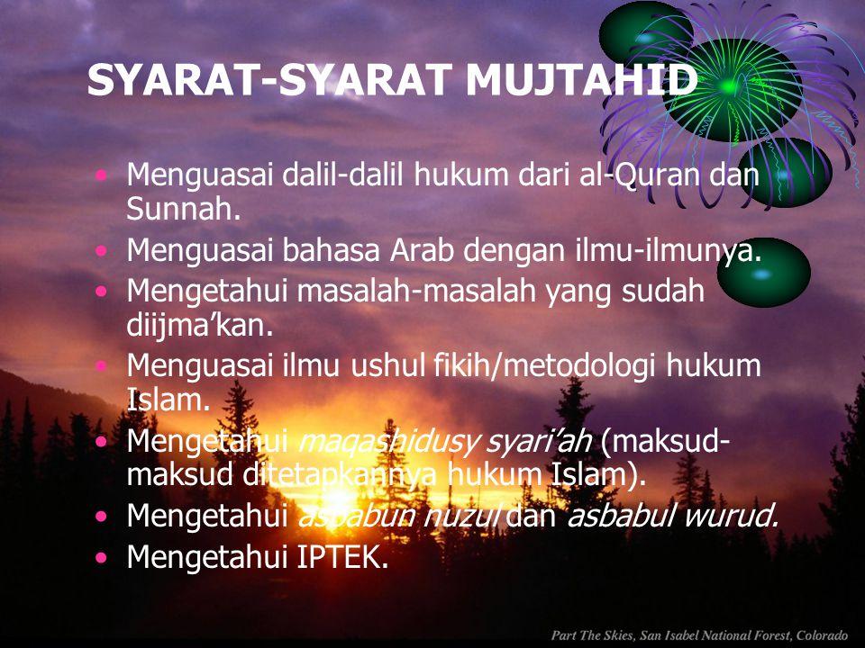 SYARAT-SYARAT MUJTAHID Menguasai dalil-dalil hukum dari al-Quran dan Sunnah. Menguasai bahasa Arab dengan ilmu-ilmunya. Mengetahui masalah-masalah yan