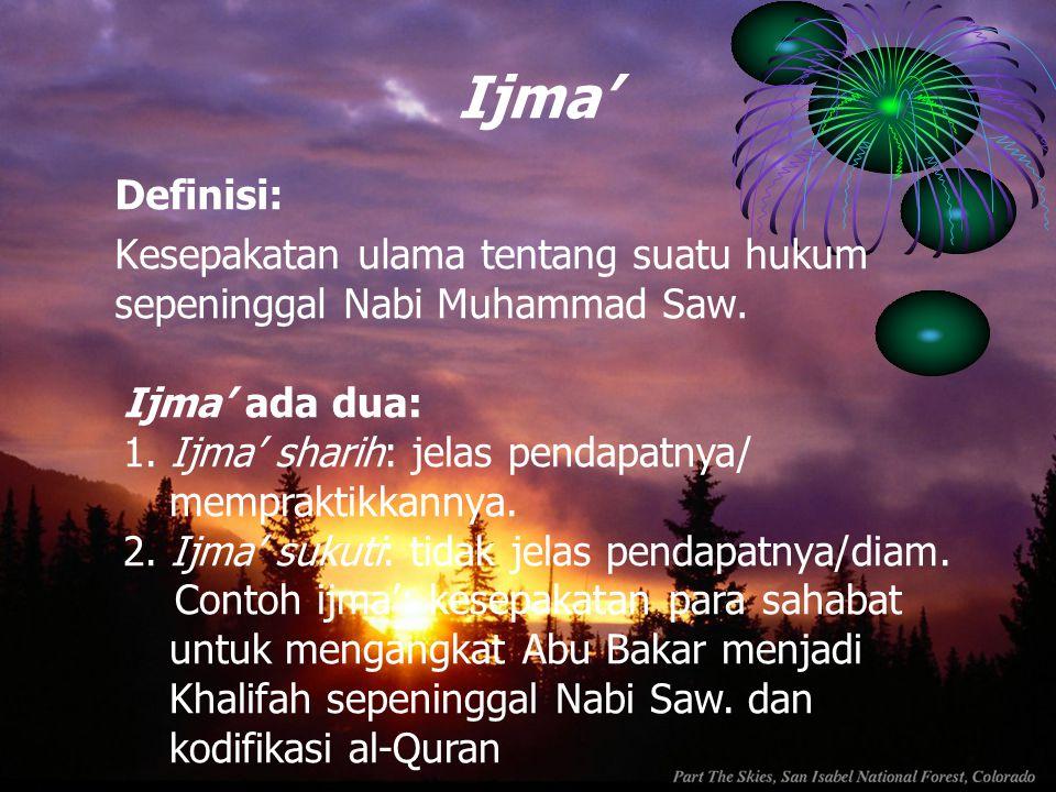 Ijma' Definisi: Kesepakatan ulama tentang suatu hukum sepeninggal Nabi Muhammad Saw. Ijma' ada dua: 1. Ijma' sharih: jelas pendapatnya/ mempraktikkann