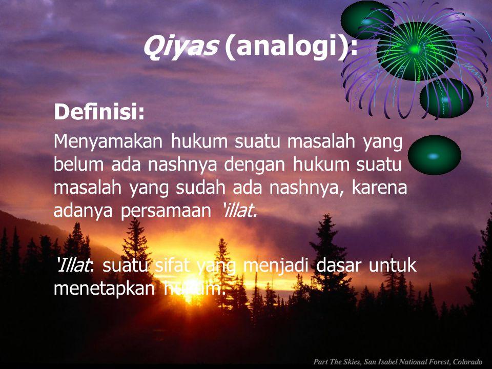 Qiyas (analogi): Definisi: Menyamakan hukum suatu masalah yang belum ada nashnya dengan hukum suatu masalah yang sudah ada nashnya, karena adanya pers