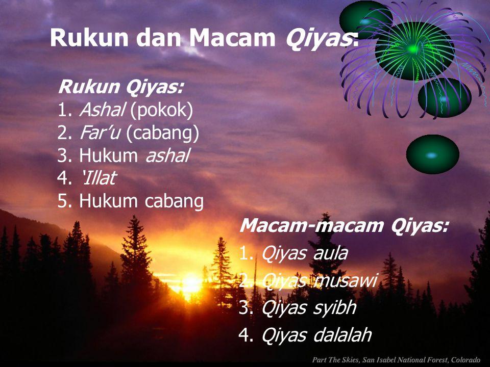 Rukun dan Macam Qiyas: Macam-macam Qiyas: 1. Qiyas aula 2. Qiyas musawi 3. Qiyas syibh 4. Qiyas dalalah Rukun Qiyas: 1. Ashal (pokok) 2. Far'u (cabang