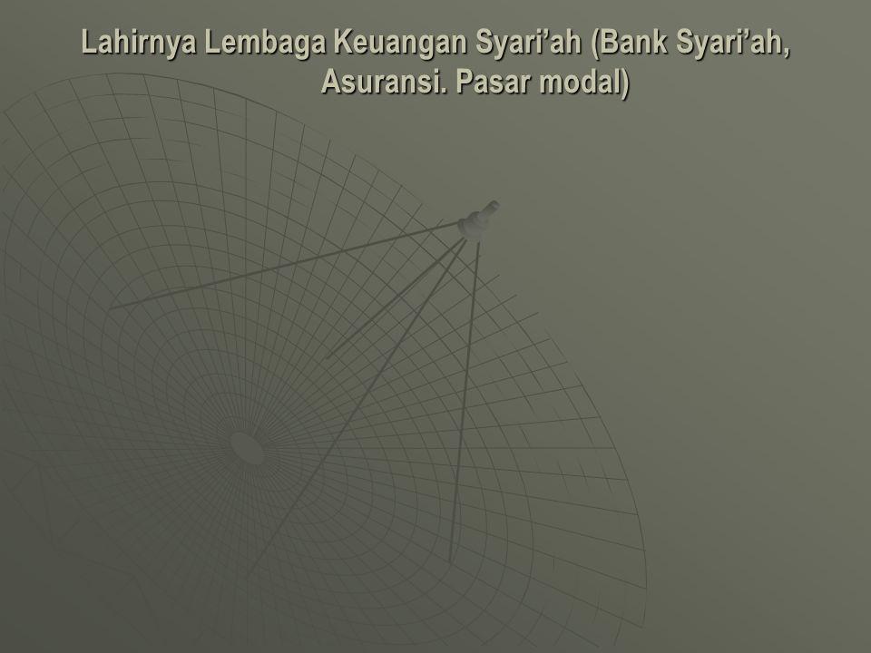 Lahirnya Lembaga Keuangan Syari'ah (Bank Syari'ah, Asuransi. Pasar modal)