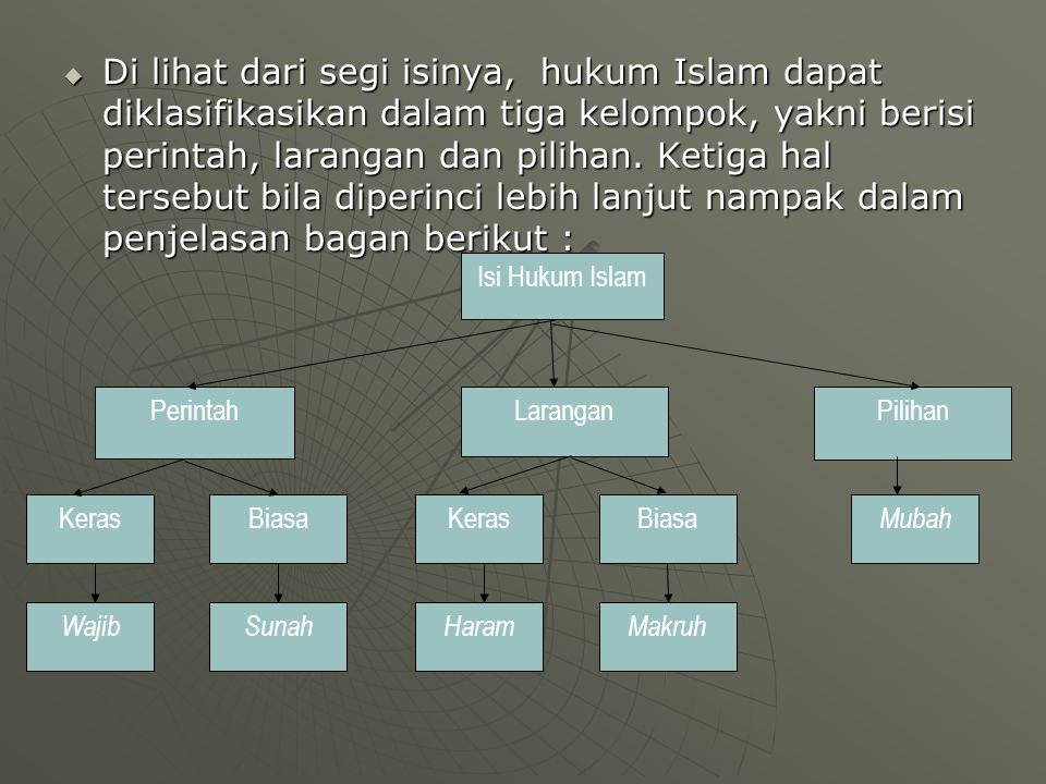  Di lihat dari segi isinya, hukum Islam dapat diklasifikasikan dalam tiga kelompok, yakni berisi perintah, larangan dan pilihan.
