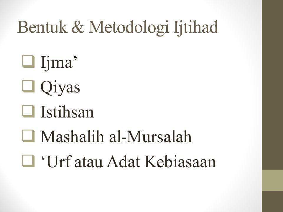Bentuk & Metodologi Ijtihad  Ijma'  Qiyas  Istihsan  Mashalih al-Mursalah  'Urf atau Adat Kebiasaan