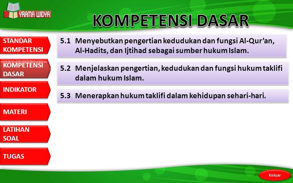 STANDAR KOMPETENSI STANDAR KOMPETENSI DASAR KOMPETENSI DASAR INDIKATOR MATERI LATIHAN SOAL LATIHAN SOAL TUGAS Keluar KOMPETENSI DASAR 5.1 Menyebutkan pengertian kedudukan dan fungsi Al-Qur'an, Al-Hadits, dan Ijtihad sebagai sumber hukum Islam.