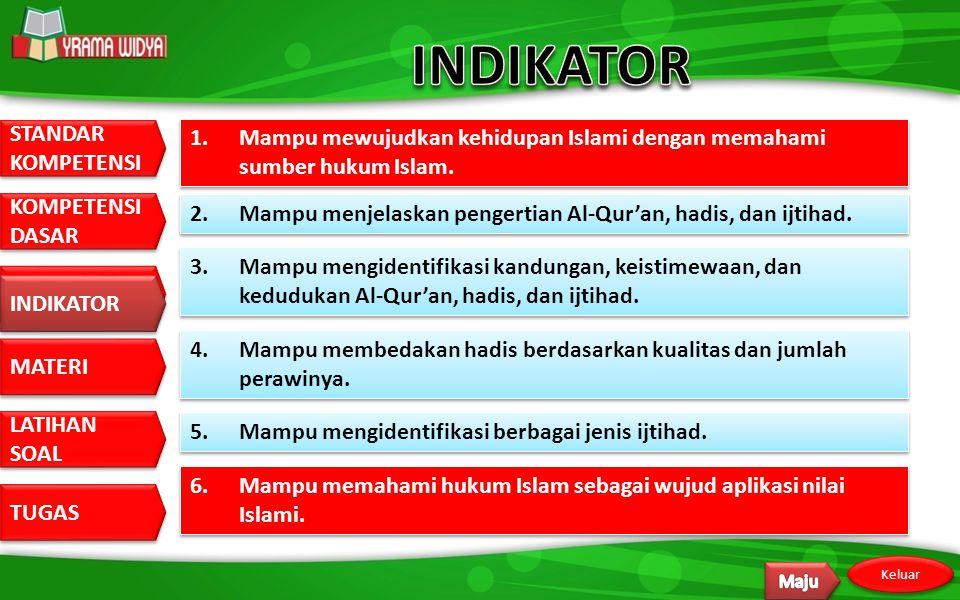 STANDAR KOMPETENSI STANDAR KOMPETENSI DASAR KOMPETENSI DASAR INDIKATOR MATERI LATIHAN SOAL LATIHAN SOAL TUGAS Keluar INDIKATOR 1.Mampu mewujudkan kehidupan Islami dengan memahami sumber hukum Islam.
