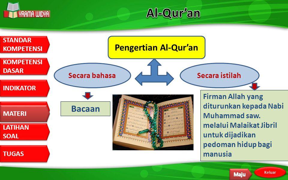 STANDAR KOMPETENSI STANDAR KOMPETENSI DASAR KOMPETENSI DASAR INDIKATOR MATERI LATIHAN SOAL LATIHAN SOAL TUGAS Keluar MATERI Al-Qur'an (Halaman 65-68 )