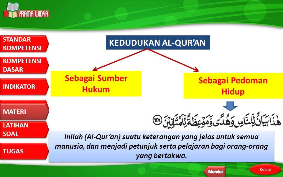 STANDAR KOMPETENSI STANDAR KOMPETENSI DASAR KOMPETENSI DASAR INDIKATOR MATERI LATIHAN SOAL LATIHAN SOAL TUGAS Keluar MATERI KEDUDUKAN AL-QUR'AN Sebagai Sumber Hukum Sebagai Pedoman Hidup Inilah (Al-Qur'an) suatu keterangan yang jelas untuk semua manusia, dan menjadi petunjuk serta pelajaran bagi orang-orang yang bertakwa.