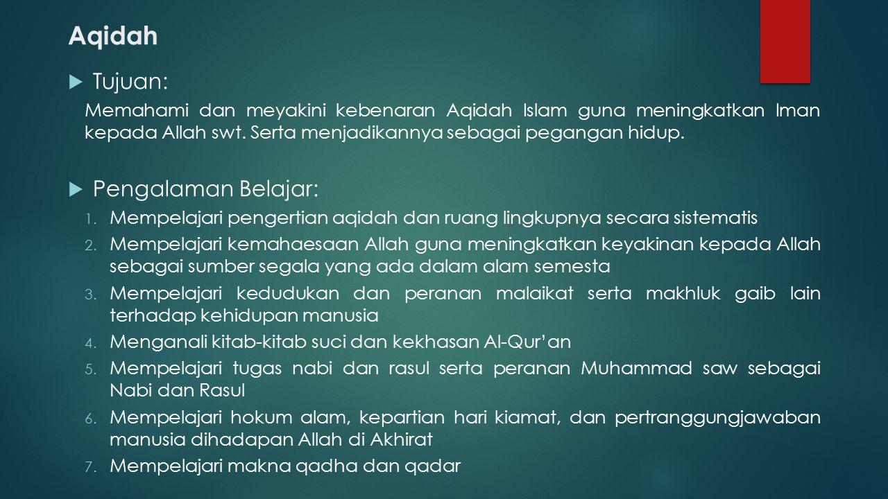 Aqidah  Tujuan: Memahami dan meyakini kebenaran Aqidah Islam guna meningkatkan Iman kepada Allah swt. Serta menjadikannya sebagai pegangan hidup.  P