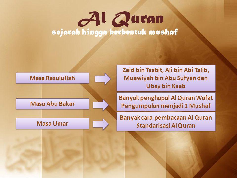 Al Quran sejarah hingga berbentuk mushaf Masa Rasulullah Zaid bin Tsabit, Ali bin Abi Talib, Muawiyah bin Abu Sufyan dan Ubay bin Kaab Masa Abu Bakar