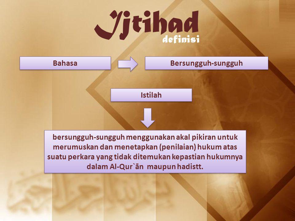 Ijtihad definisi Istilah Bahasa Bersungguh-sungguh bersungguh-sungguh menggunakan akal pikiran untuk merumuskan dan menetapkan (penilaian) hukum atas