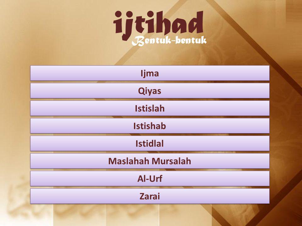 ijtihad Bentuk-bentuk Ijma Qiyas Istislah Istishab Istidlal Maslahah Mursalah Al-Urf Zarai