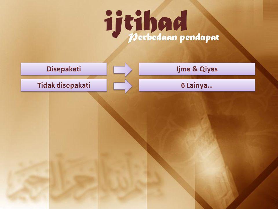 ijtihad Perbedaan pendapat Disepakati Ijma & Qiyas Tidak disepakati 6 Lainya…