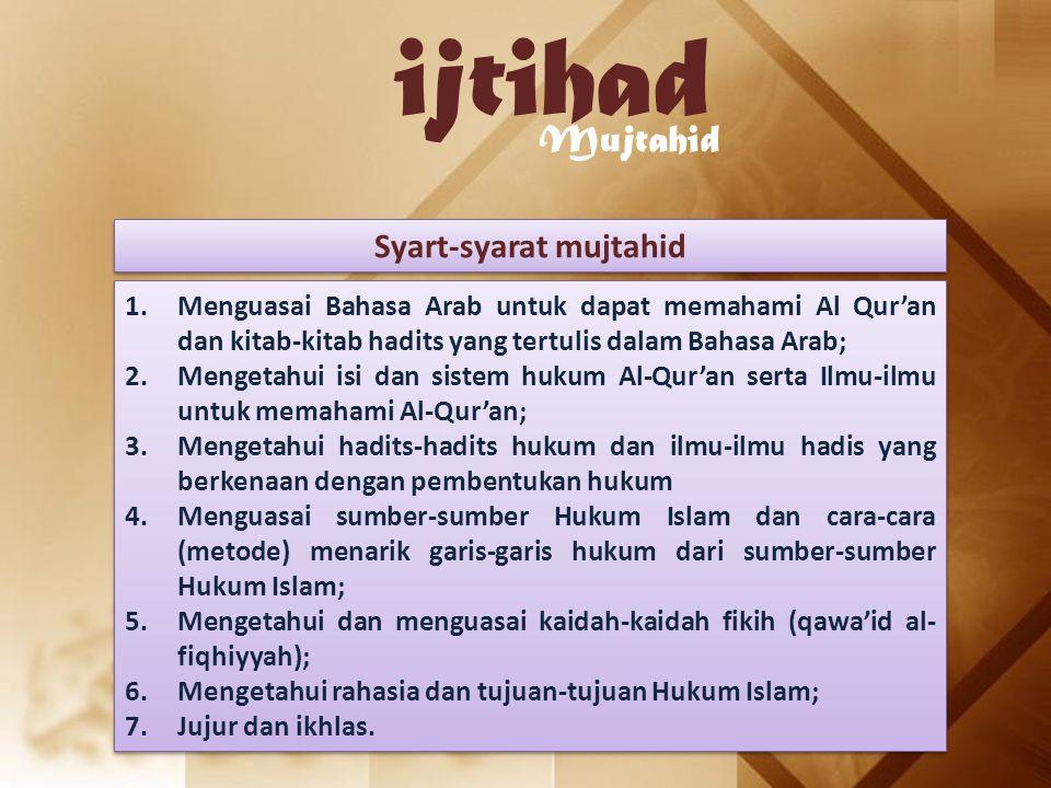 ijtihad Mujtahid Syart-syarat mujtahid 1.Menguasai Bahasa Arab untuk dapat memahami Al Qur'an dan kitab-kitab hadits yang tertulis dalam Bahasa Arab;