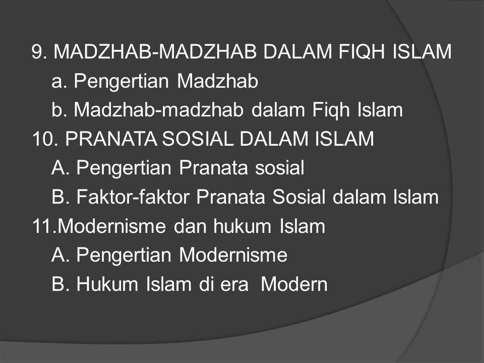 9.MADZHAB-MADZHAB DALAM FIQH ISLAM a. Pengertian Madzhab b.