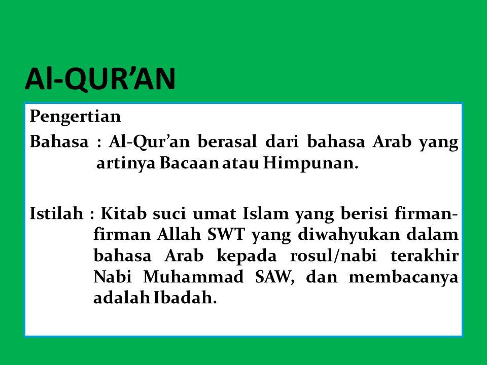Al-QUR'AN Pengertian Bahasa : Al-Qur'an berasal dari bahasa Arab yang artinya Bacaan atau Himpunan. Istilah : Kitab suci umat Islam yang berisi firman