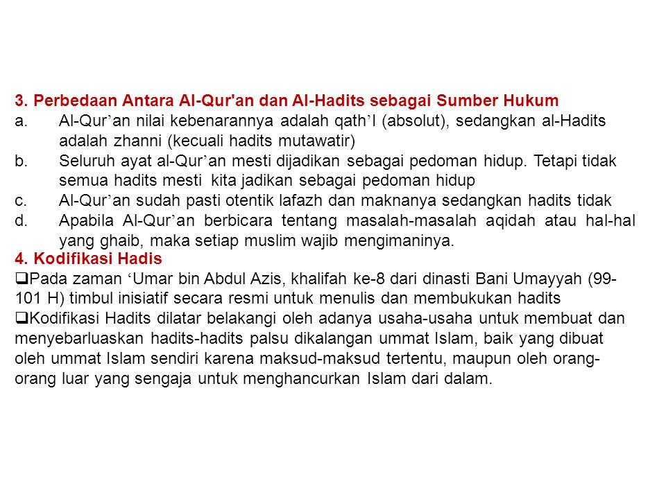 3. Perbedaan Antara Al-Qur'an dan Al-Hadits sebagai Sumber Hukum a.Al-Qur ' an nilai kebenarannya adalah qath ' I (absolut), sedangkan al-Hadits adala