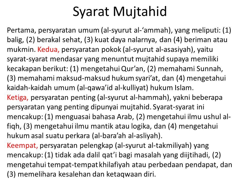Syarat Mujtahid Pertama, persyaratan umum (al-syurut al-'ammah), yang meliputi: (1) balig, (2) berakal sehat, (3) kuat daya nalarnya, dan (4) beriman