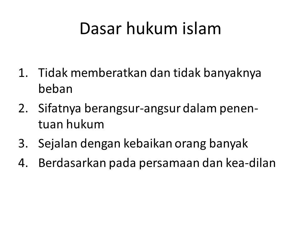 Dasar hukum islam 1.Tidak memberatkan dan tidak banyaknya beban 2.Sifatnya berangsur-angsur dalam penen- tuan hukum 3.Sejalan dengan kebaikan orang ba
