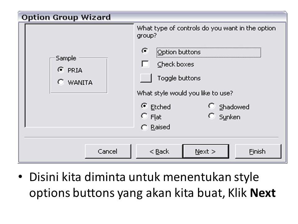 Disini kita diminta untuk menentukan style options buttons yang akan kita buat, Klik Next