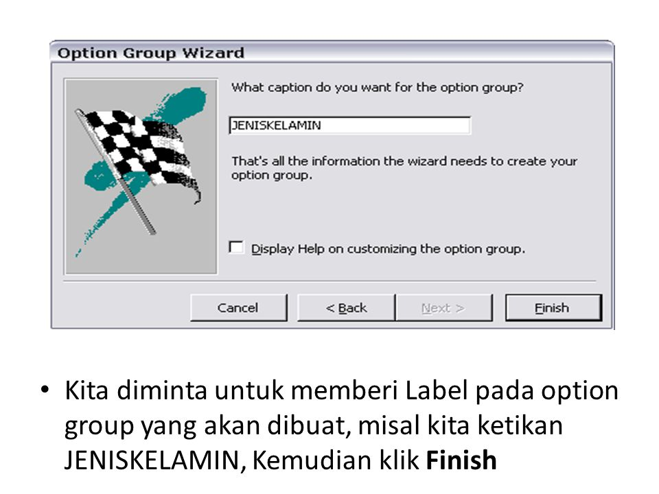 Kita diminta untuk memberi Label pada option group yang akan dibuat, misal kita ketikan JENISKELAMIN, Kemudian klik Finish