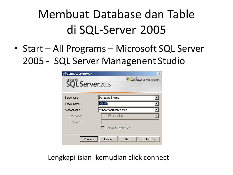 Membuat Database dan Table di SQL-Server 2005 Start – All Programs – Microsoft SQL Server 2005 - SQL Server Managenent Studio Lengkapi isian kemudian click connect