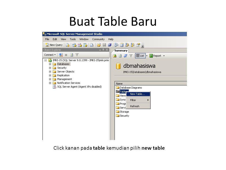 Buat Table Baru Click kanan pada table kemudian pilih new table