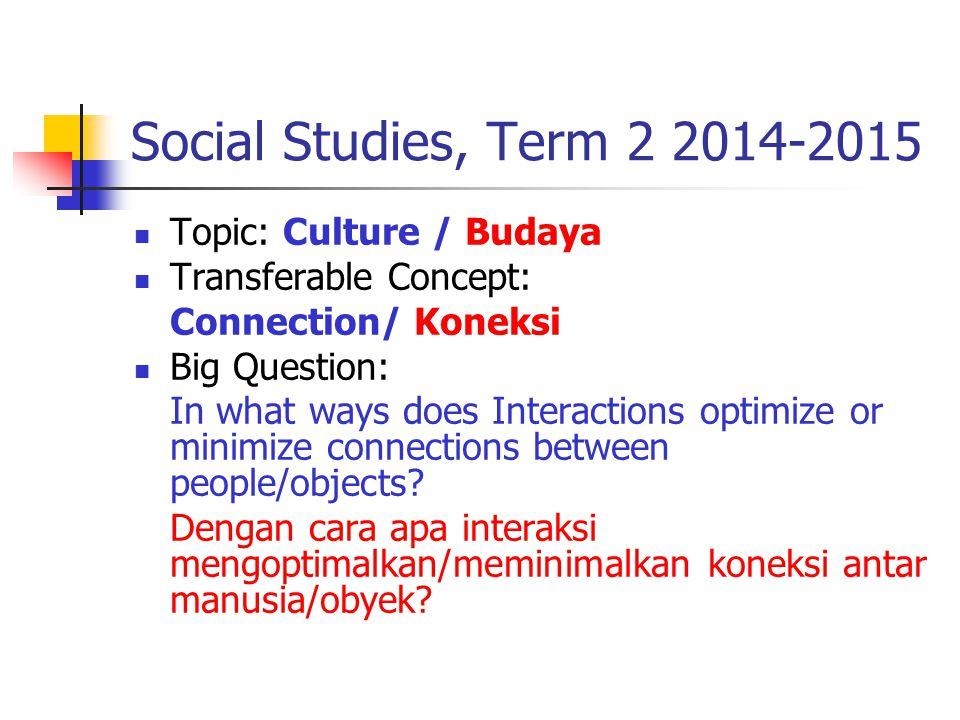 Outcomes, Term 2 2014-2015 Mampu menganalisis keragaman budaya global dan koneksinya dengan budayalokal Mampu menentukan cara-cara mengembangkan budaya lokal menjadi budaya global