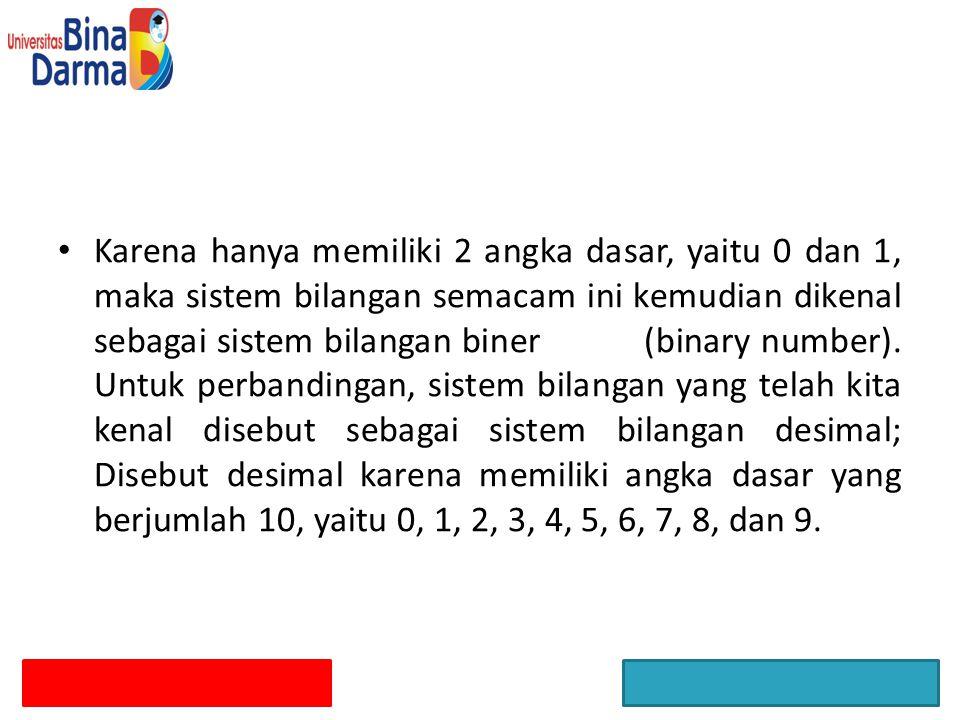 Penjumlahan : Pada bilangan binary bila angka yang dijumlahkan lebih dari 1, akan dipindahkan ( carry 0 angka 1 ke angka di sebelah kiri.
