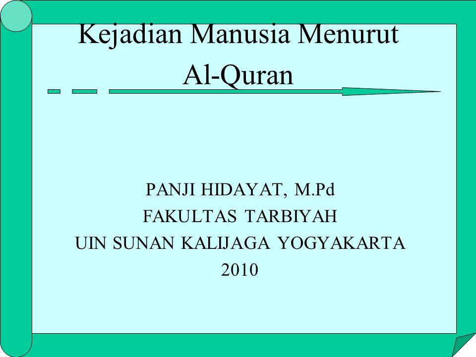 Kejadian Manusia Menurut Al-Quran PANJI HIDAYAT, M.Pd FAKULTAS TARBIYAH UIN SUNAN KALIJAGA YOGYAKARTA 2010