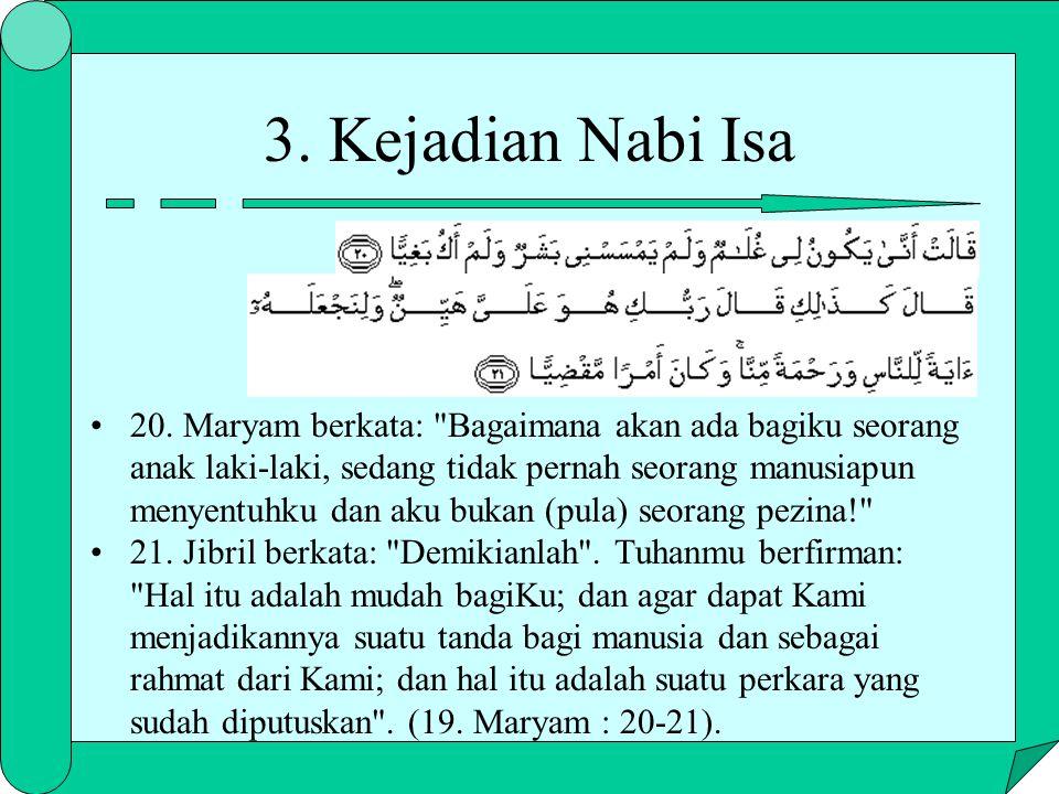 3. Kejadian Nabi Isa 20. Maryam berkata: