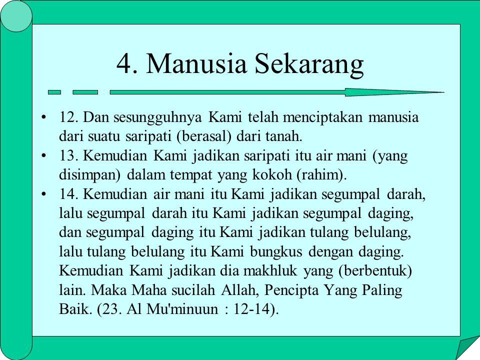 12. Dan sesungguhnya Kami telah menciptakan manusia dari suatu saripati (berasal) dari tanah. 13. Kemudian Kami jadikan saripati itu air mani (yang di