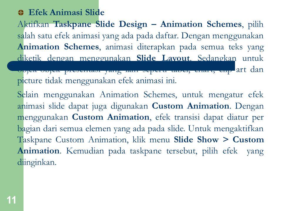 11 Aktifkan Taskpane Slide Design – Animation Schemes, pilih salah satu efek animasi yang ada pada daftar. Dengan menggunakan Animation Schemes, anima