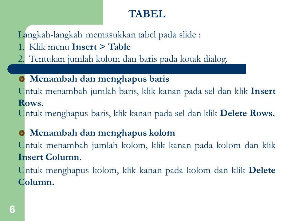 6 Langkah-langkah memasukkan tabel pada slide : 1.Klik menu Insert > Table 2.Tentukan jumlah kolom dan baris pada kotak dialog. Untuk menambah jumlah
