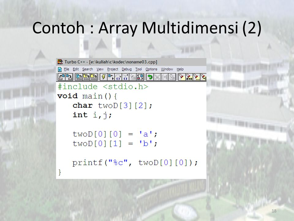 Contoh : Array Multidimensi (2) 18