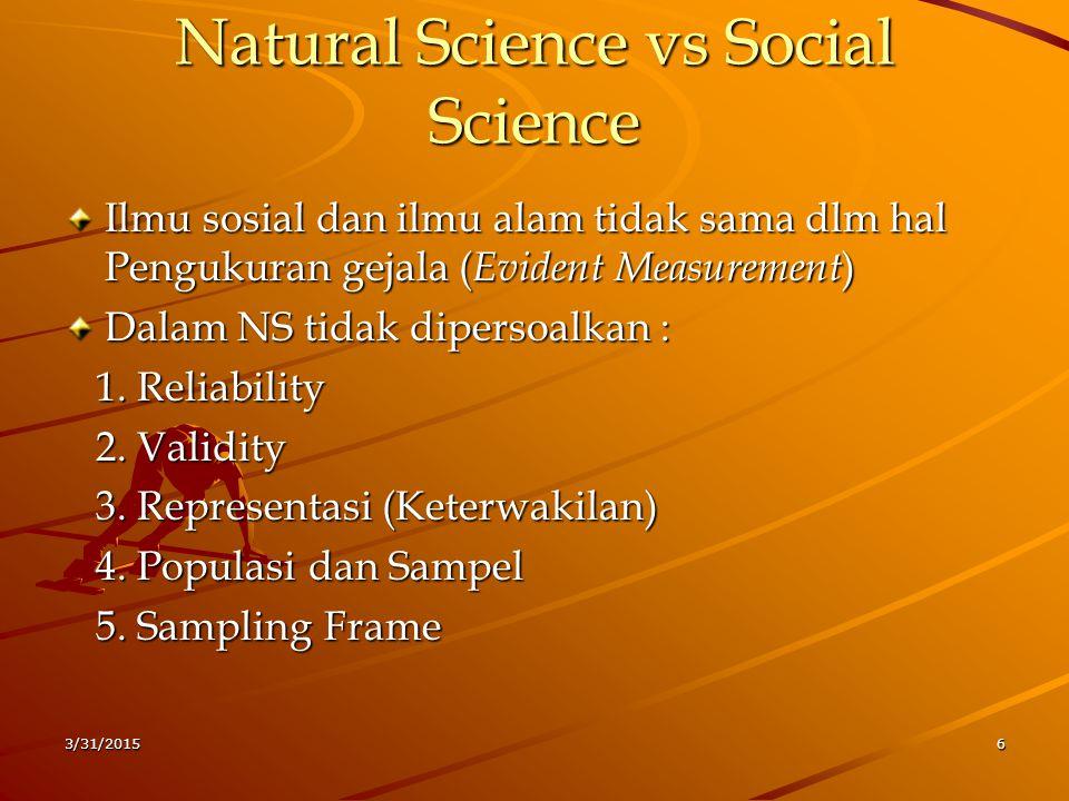 Karakteristik Ilmu Sosial  Jika dalam NS yang dicari adalah Hukum- hukum Alam,dalil,atau aksioma maka dlm ilmu sosial yang dicari adalah Generalisasi Empirik (perspektif positivisme)  Oleh karena itu komponen metodologi ilmu sosial sangat menekankan kepada :  Indikator – konsep – Teori – Paradigma  Tetapi seringkali hanya sampai pada : Central Tendency / menguji teori saja 3/31/20157