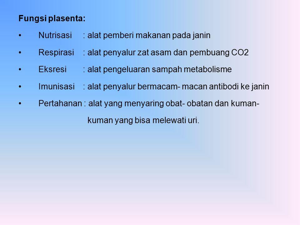 Fungsi plasenta: Nutrisasi : alat pemberi makanan pada janin Respirasi: alat penyalur zat asam dan pembuang CO2 Eksresi : alat pengeluaran sampah meta